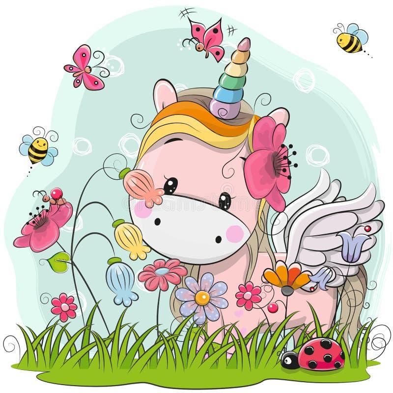 Unicornio lindo de la historieta en un prado