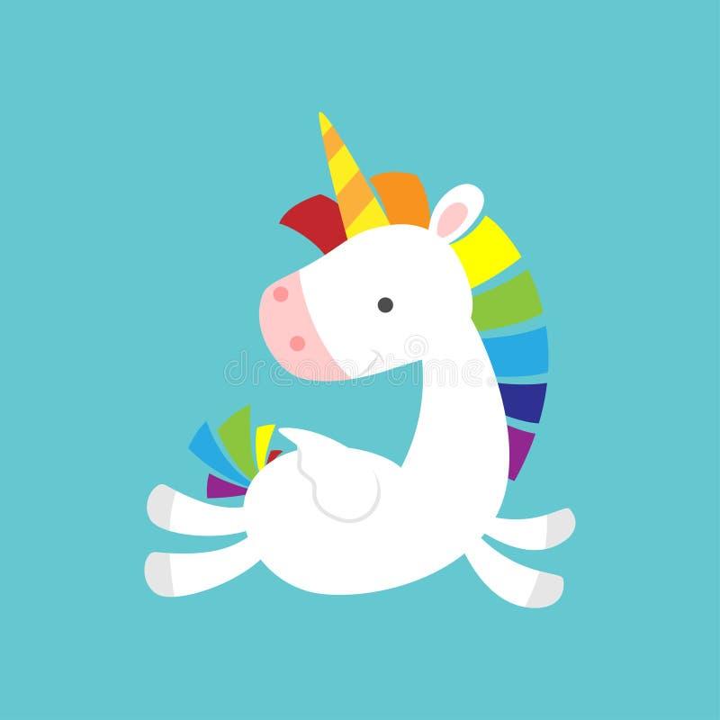 Unicornio lindo del bebé que vuela y que mira detrás ilustración del vector