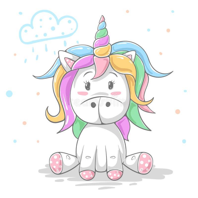 Unicornio lindo del color del peluche Ejemplo fresco libre illustration