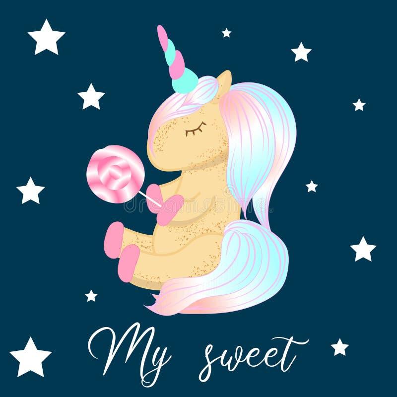 Unicornio lindo del personaje de dibujos animados Impresi?n para la fiesta de bienvenida al beb? ilustración del vector