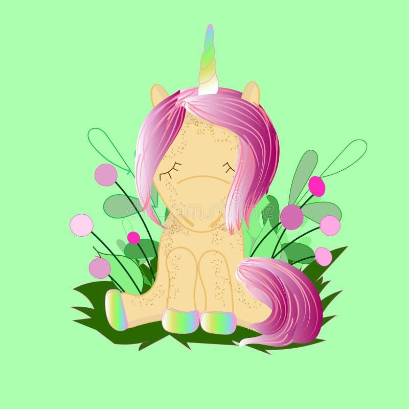 Unicornio lindo del personaje de dibujos animados Impresi?n para la fiesta de bienvenida al beb? stock de ilustración