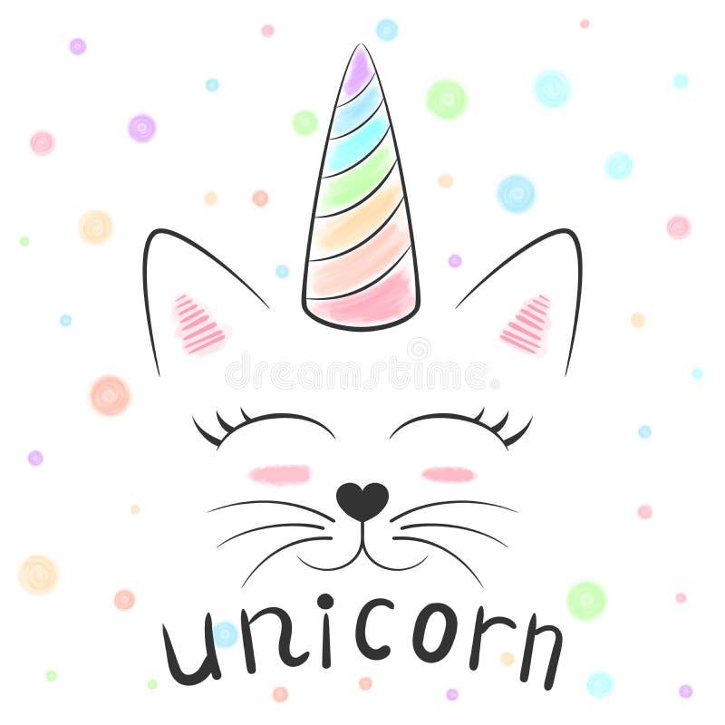 Unicornio lindo, ejemplo del maullido del gato Princesa y corona divertidas para la camiseta de la impresión Estilo dibujado mano ilustración del vector