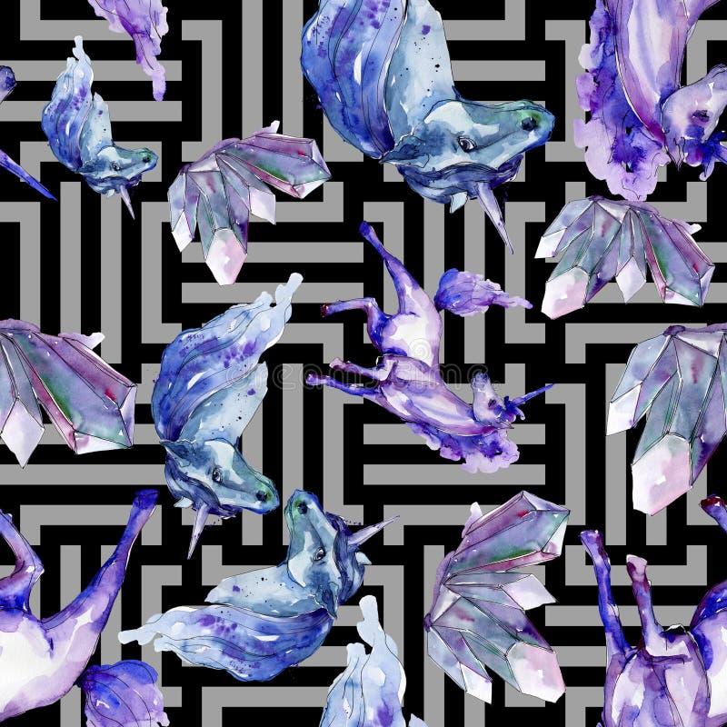 Unicornio lindo Ilustración de la acuarela dibujo del watercolour Modelo inconsútil del fondo Textura de la impresión del papel p stock de ilustración