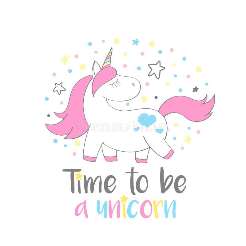 Unicornio lindo mágico en estilo de la historieta con tiempo de las letras de la mano para ser un unicornio ilustración del vector
