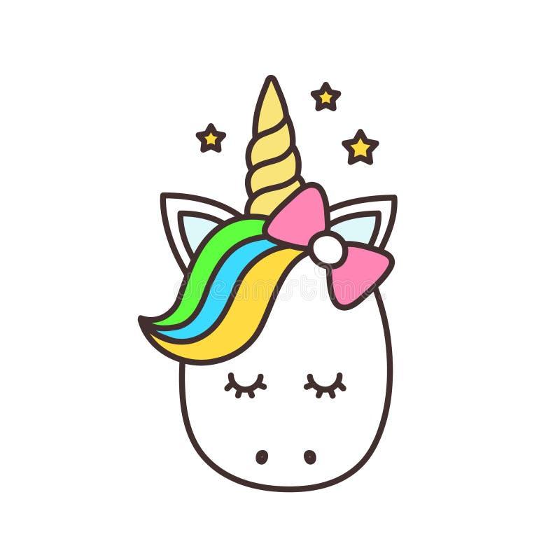 Unicornio lindo Personaje de dibujos animados del vector stock de ilustración