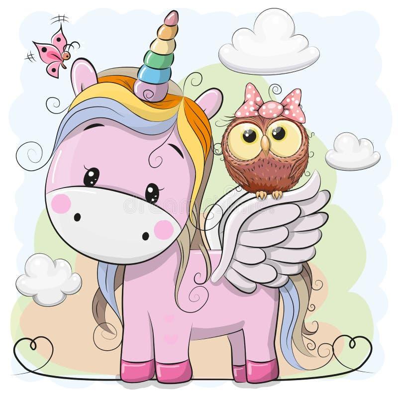 Unicornio lindo y búho de la historieta ilustración del vector