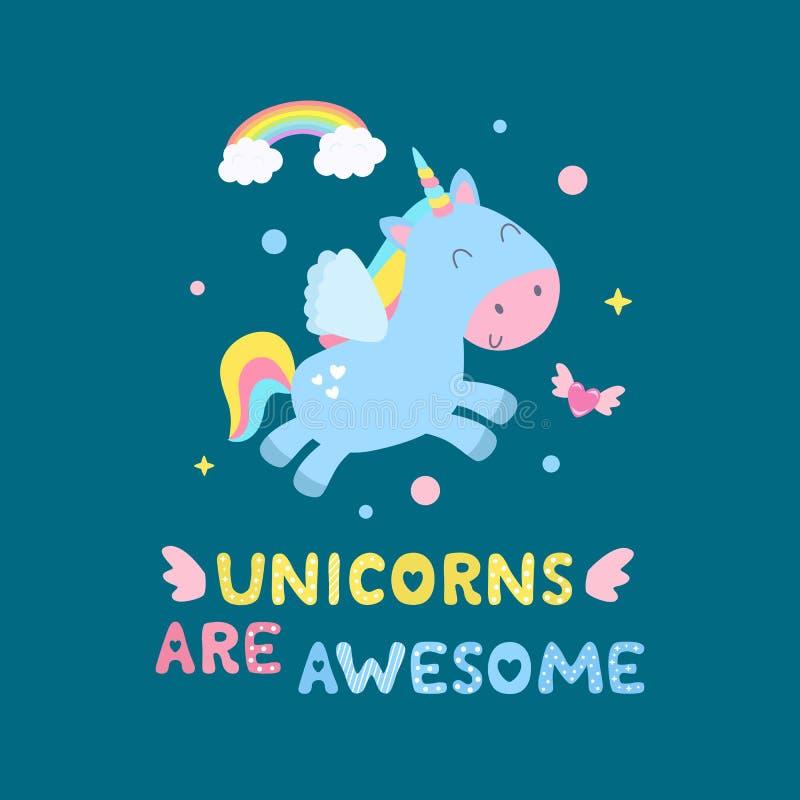 Unicornio lindo y ejemplo mágico del vector de los artículos Los unicornios son tarjeta impresionante, impresión ilustración del vector