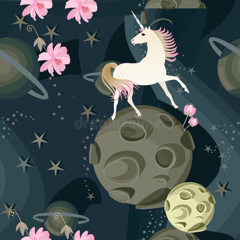 Unicornio lindo y flores rosadas delicadas contra un fondo del espacio con los planetas y las estrellas en un vector Modelo incon stock de ilustración