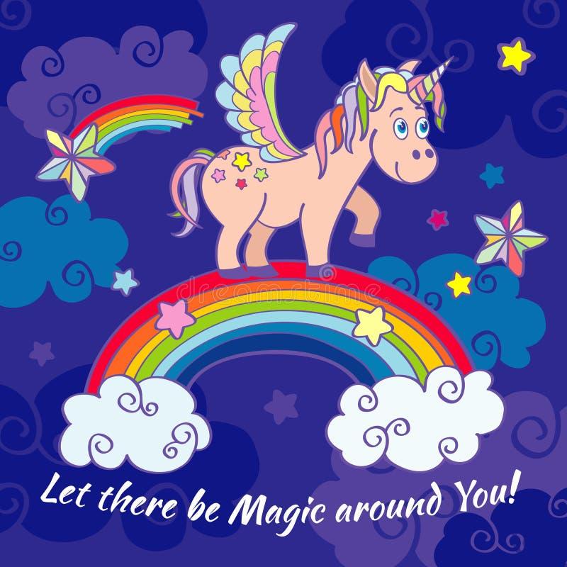 Unicornio lindo y fondo de hadas del vector del arco iris, cartel, tarjeta de felicitación ilustración del vector