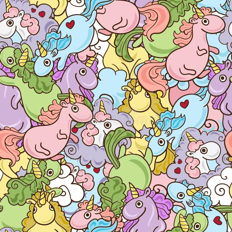 Unicornio mágico con los corazones del cuerno y del vuelo del arco iris con el modelo rosado inconsútil de las alas Texturas sin  ilustración del vector
