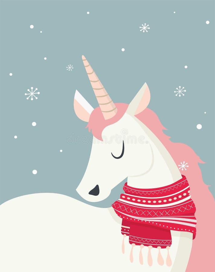 Unicornio mágico en el scine del invierno Feliz Navidad y Feliz Año Nuevo stock de ilustración