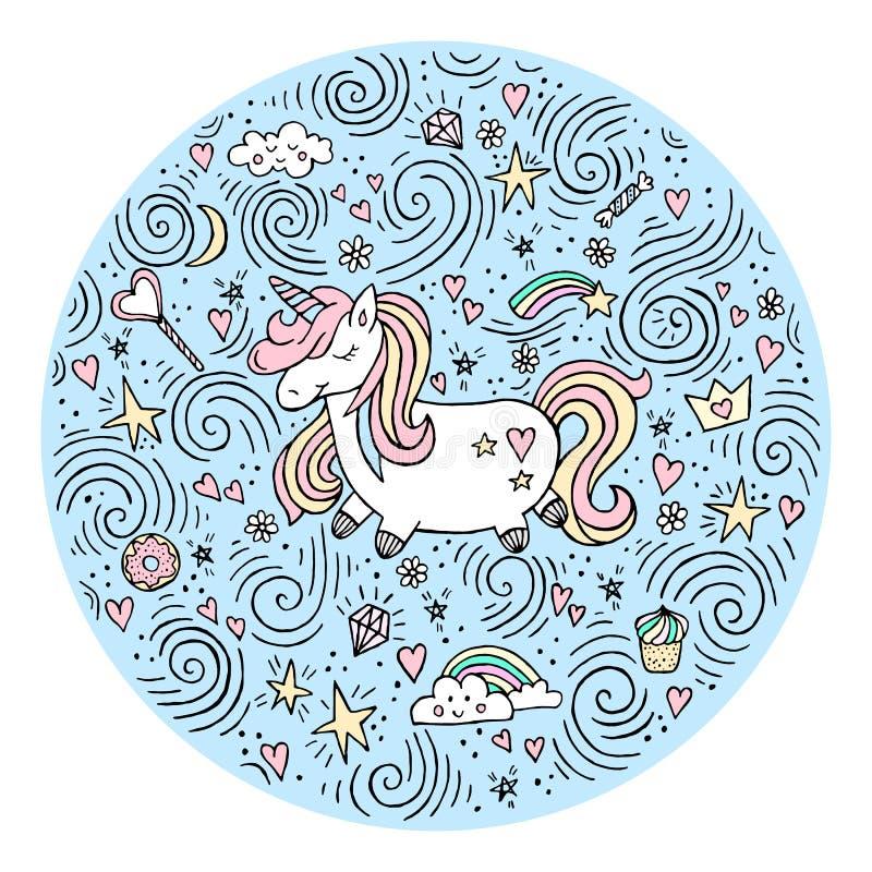 Unicornio mágico lindo Diseño del vector aislado en el fondo blanco Ejemplo romántico del dibujo de la mano para los niños stock de ilustración
