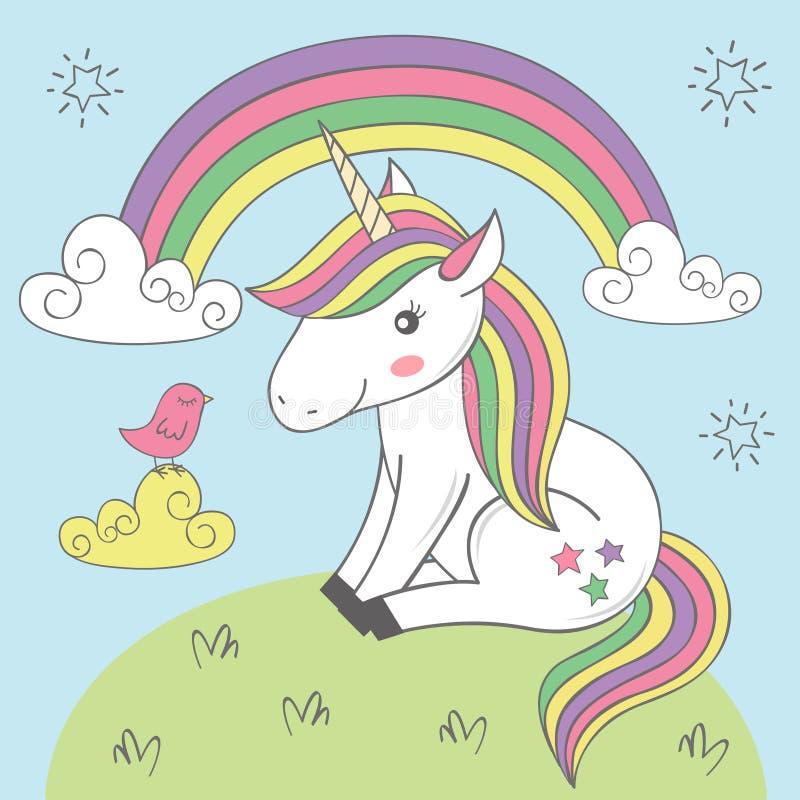 Unicornio mágico y pájaro debajo del arco iris ilustración del vector