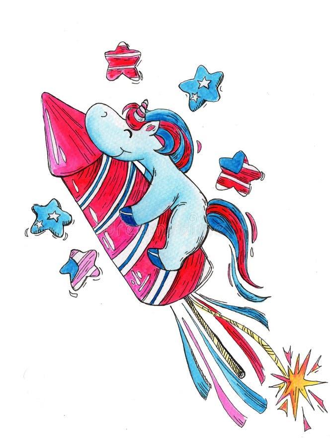 Unicornio a mano de la acuarela en Día de la Independencia americano ilustración del vector