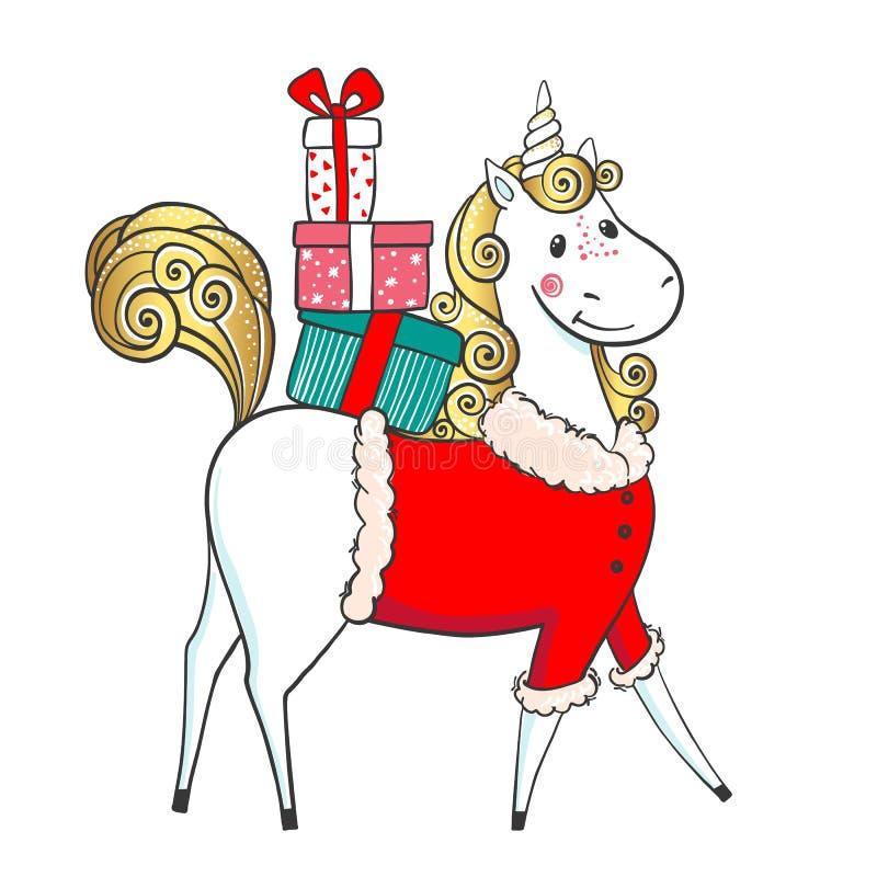 Unicornio-Papá Noel lindo dibujado mano con los regalos stock de ilustración