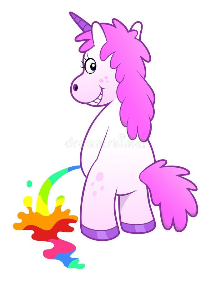 Unicornio pissing el arco iris stock de ilustración