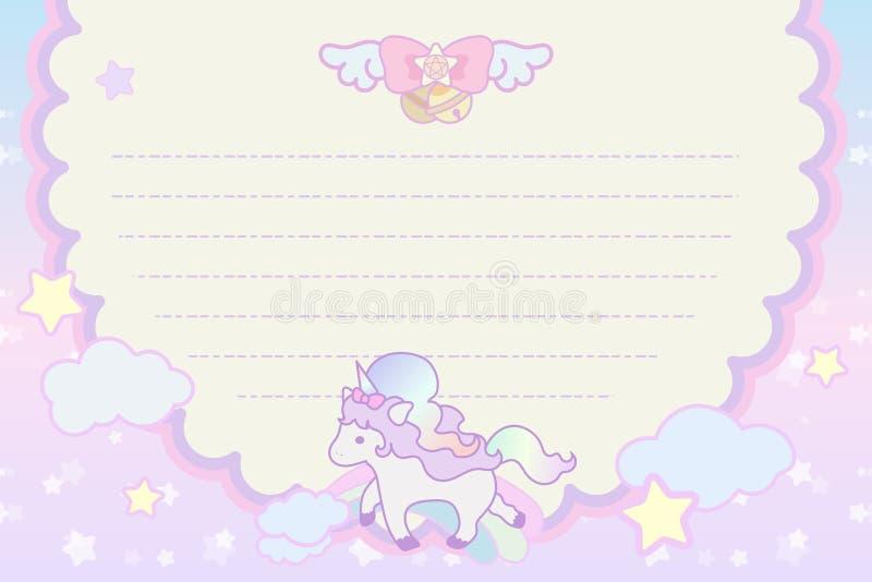 Unicornio precioso mágico en colores pastel lindo imagen de archivo