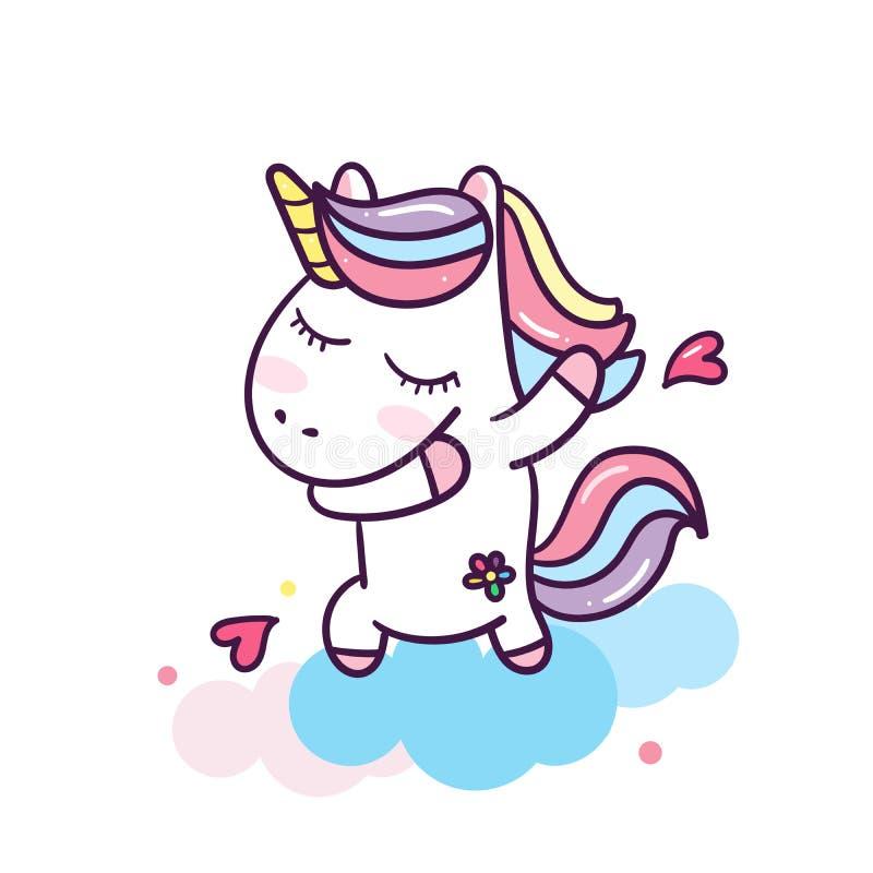 Unicornio que frota con el ejemplo lindo de la historieta de las expresiones felices del unicornio de los corazones: ejemplo de l ilustración del vector