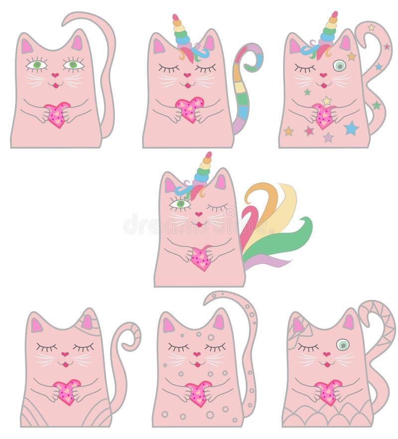 Unicornio rosado divertido del gato del sistema grande Concepto de milagros y de magia libre illustration