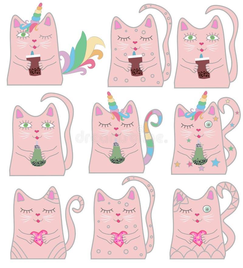 Unicornio rosado divertido del gato del sistema grande Concepto de milagros y de magia stock de ilustración