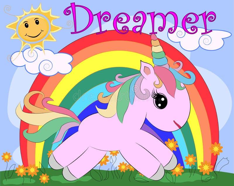 Unicornio rosado en un prado con las flores, arco iris, sol Ejemplo del niño, carácter del hada-cuento, soñador stock de ilustración