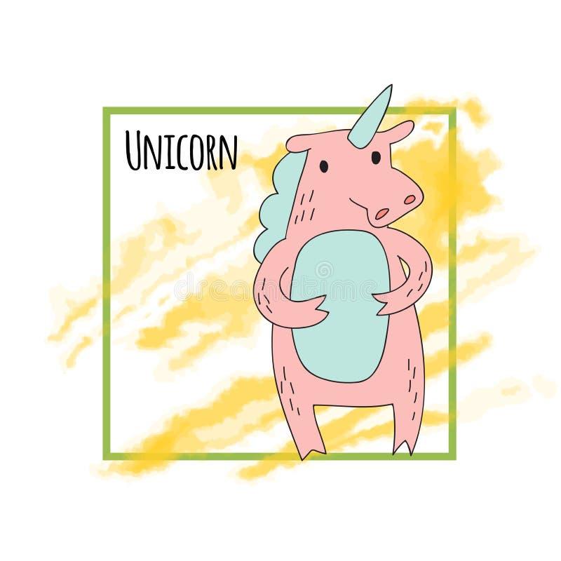 Unicornio rosado lindo Ilustración del vector Carácter lindo del unicornio de la historieta, ejemplo del vector en estilo simple  libre illustration