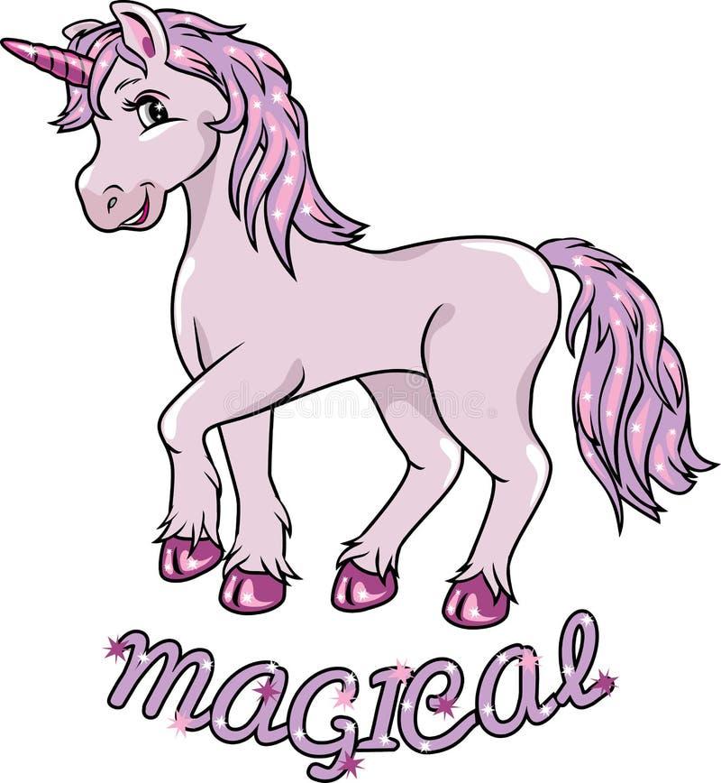 Unicornio sonriente lindo stock de ilustración