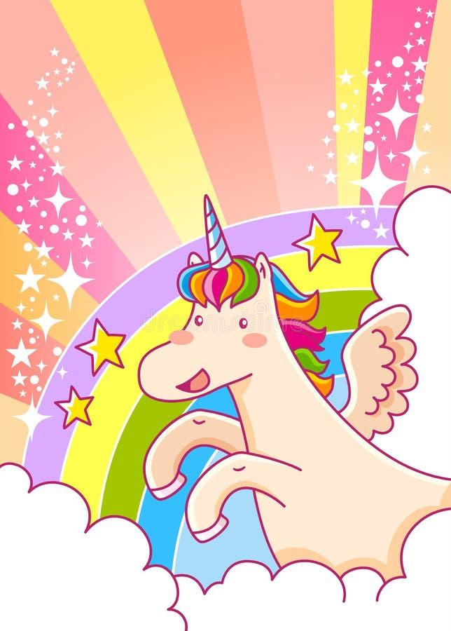 Unicornio y arco iris ilustración del vector