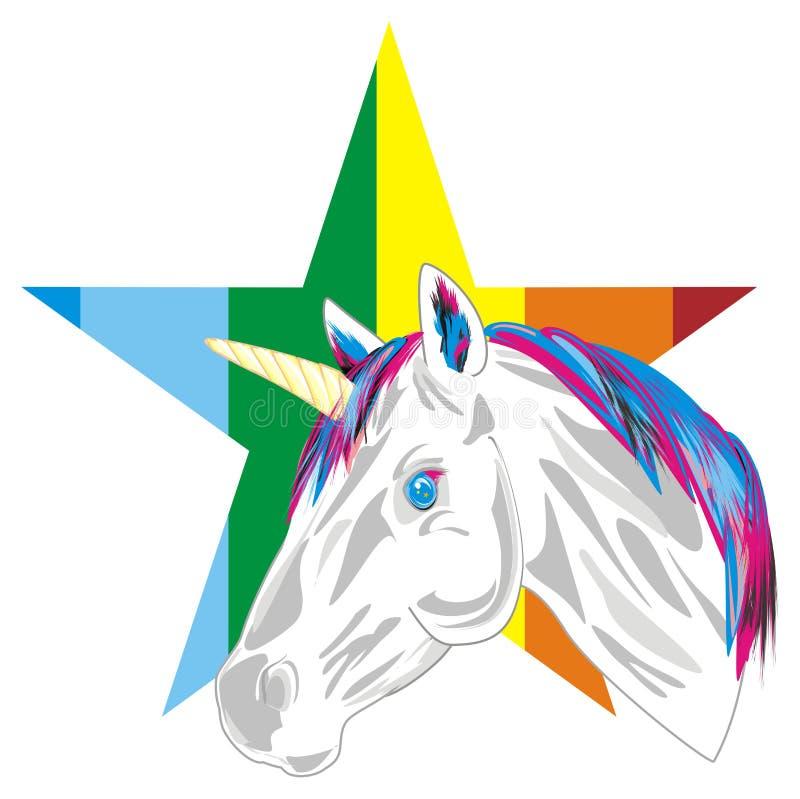 Unicornio y estrella grande stock de ilustración