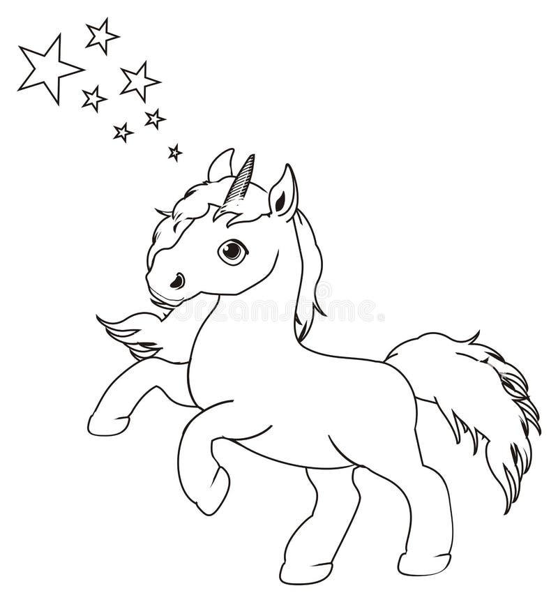Unicornio y estrellas del colorante ilustración del vector