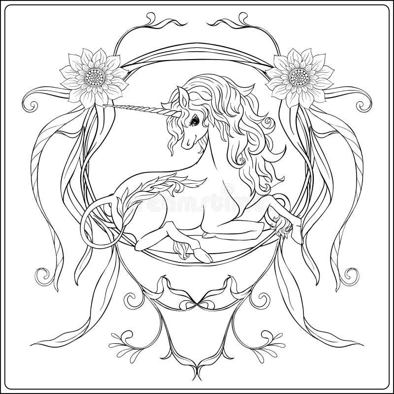 Unicornio y flores fantásticas del vintage Ilustración del vector ilustración del vector