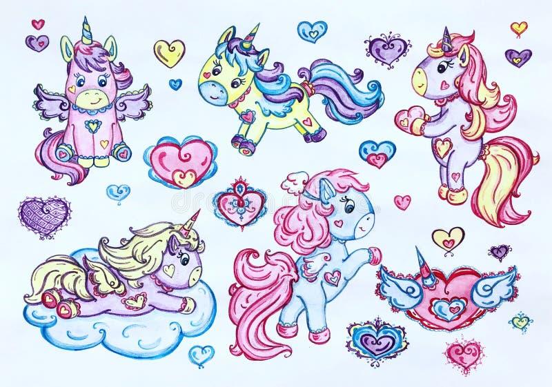Unicornios cariñosos divertidos ilustración del vector