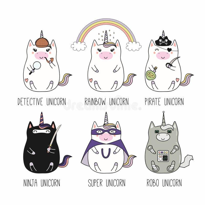 Unicornios de Kawaii fijados stock de ilustración