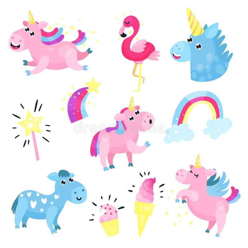 Unicornios lindos con el sistema, colección con el arco iris, nube, famingo, ejemplos del vector de la historieta de la estrella ilustración del vector