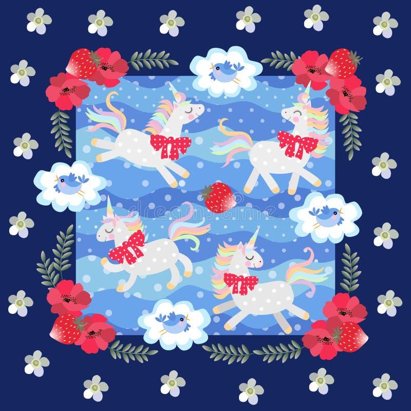 Unicornios lindos de la historieta y pequeños pájaros azules en fondo azul del lunar en marco floral hermoso Modelo del remiendo  ilustración del vector