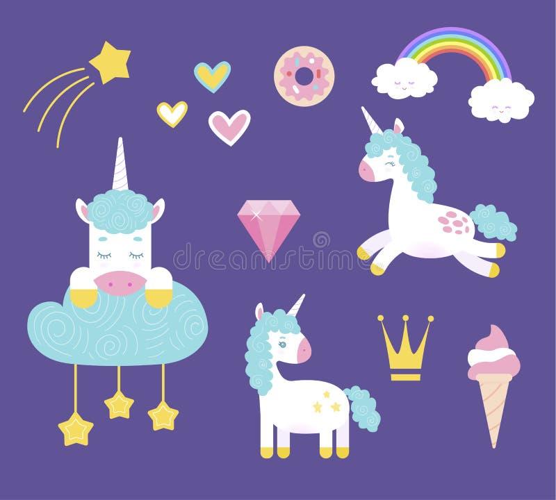 Unicornios lindos fijados ilustración del vector
