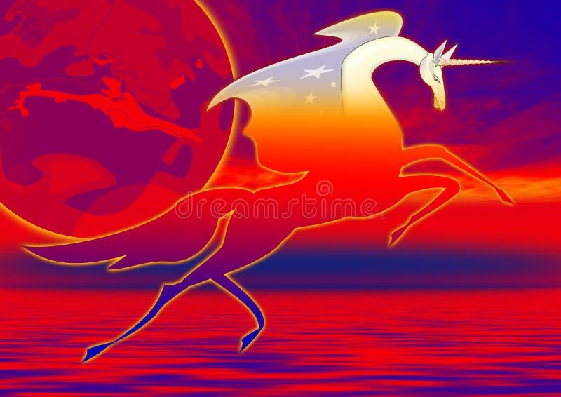 Unicorno in acqua illustrazione di stock