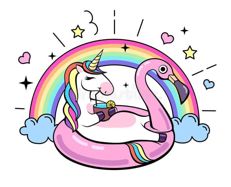 Unicorno animale di fantasia sul cerchio gonfiabile del fenicottero royalty illustrazione gratis