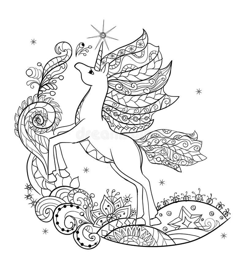 Unicorno bianco favoloso del libro da colorare - Unicorno alato pagine da colorare ...