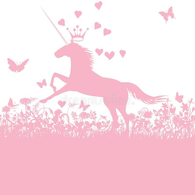 Unicorno con cuore ed amore illustrazione vettoriale