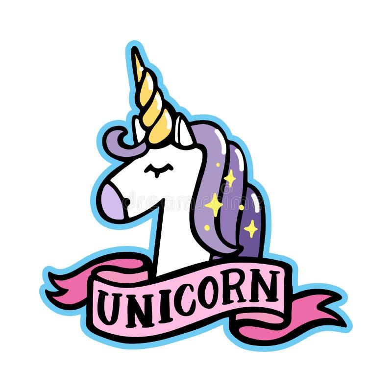 Unicorno con il nastro rosa su un fondo bianco royalty illustrazione gratis