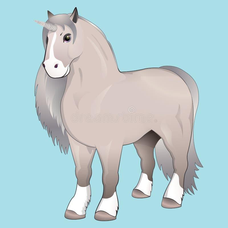 Unicorno con la criniera d'argento illustrazione vettoriale