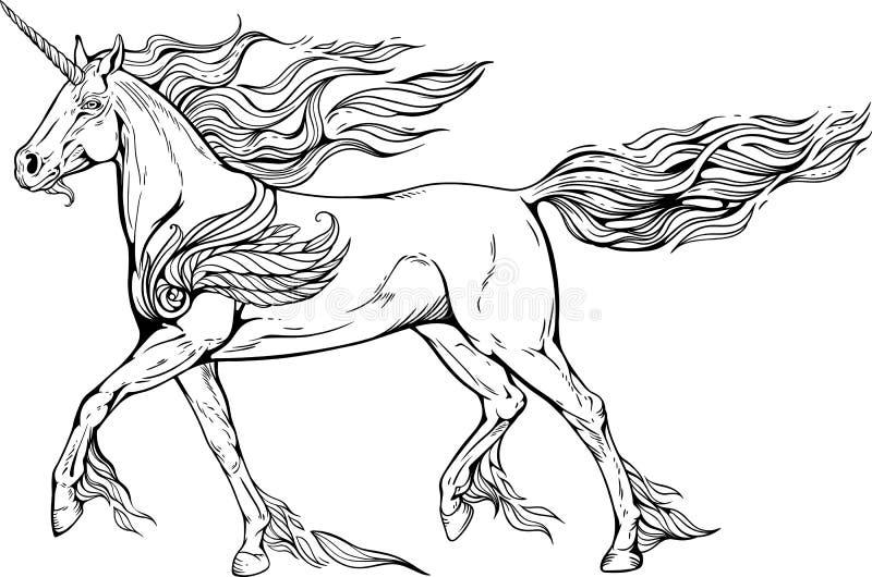 Unicorno con la criniera e la coda delle fiamme di fuoco illustrazione vettoriale
