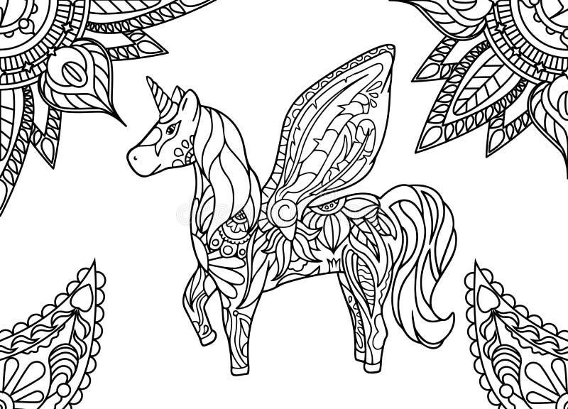 Unicorno con la mandala e l'ornamento di Paisley Pagina adulta orizzontale di coloritura illustrazione di stock