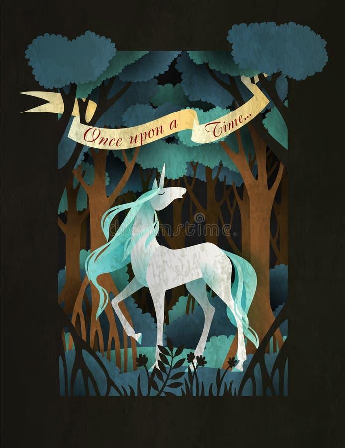 Unicorno davanti alla copertina di libro di fiaba della foresta o al modello magica del manifesto illustrazione di stock