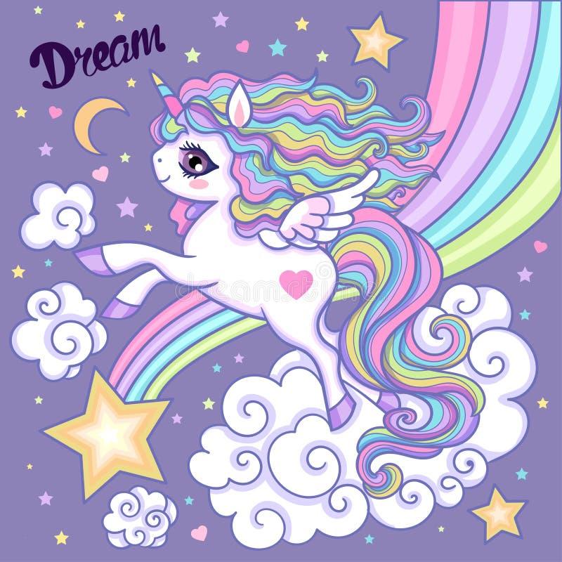 Unicorno del fumetto Bianco, unicorno dell'arcobaleno con una criniera lunga Su un fondo lilla Vettore royalty illustrazione gratis