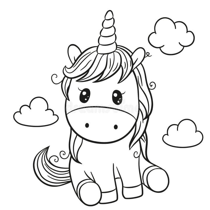 Unicorno del fumetto descritto per il libro da colorare isolato su un fondo bianco royalty illustrazione gratis