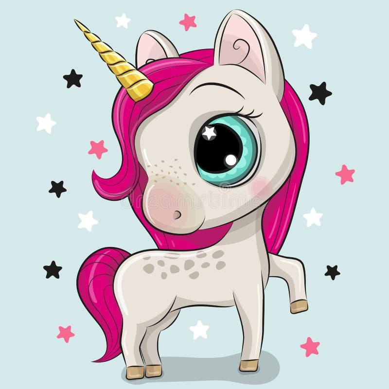 Unicorno del fumetto isolato su un fondo blu royalty illustrazione gratis