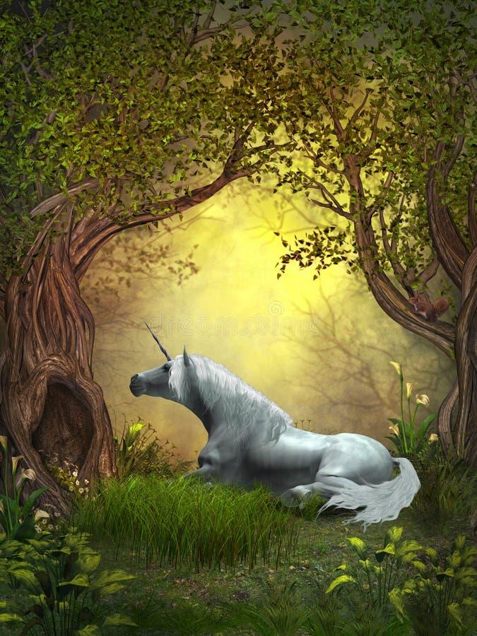 Unicorno del terreno boscoso illustrazione di stock