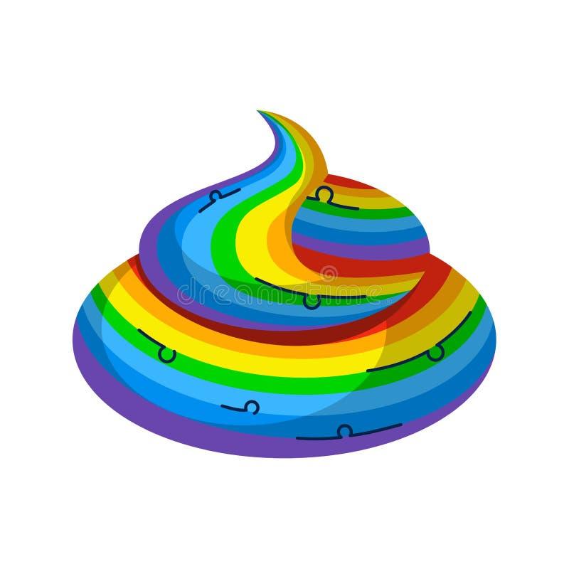 Unicorno dell'arcobaleno della merda Animale leggendario fantastico dello stronzo illustrazione vettoriale